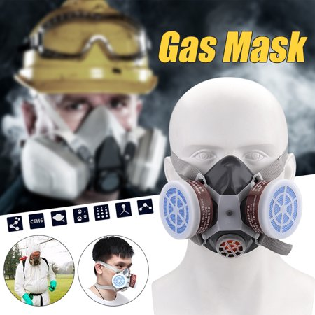 Gas mask Spray Paint Chemical Double Tank Activated Carbon Mask Respirator Decoration Polishing Anti-paint