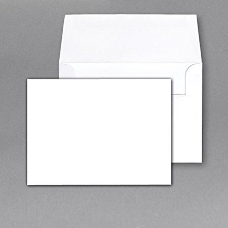 Heavy Blank Note Cards and Envelopes Size 5 X 7 - White - 50 Per Pack. - This Is Not a Fold Over Card. - Printing Invitations