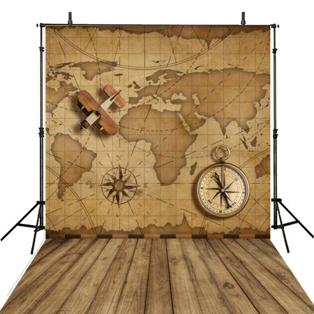 GreenDecor Polyster Wooden Photography Backgrounds Vintage 5x7ft Children Photo Backdrops World Map Backgrounds Photography Background Studio Props - Mlp Background