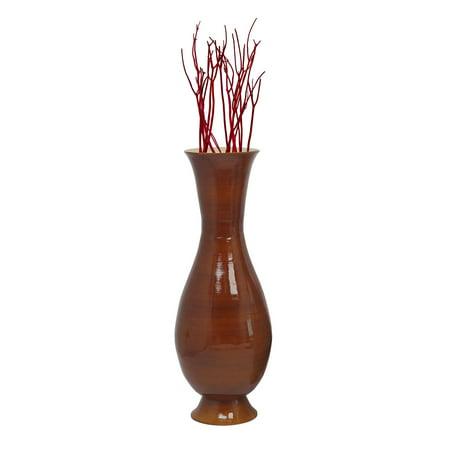 Brown Modern Handmade Bamboo Floor Vase