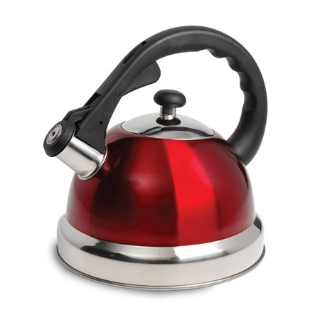 Claredale 1.7 Qt Whistling Tea Kettle - Red - Nylon Handle -