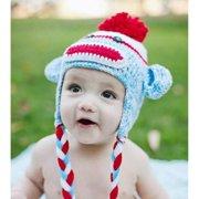 Knitnut By JL Handmade Red Blue Sock Monkey Knit Hat