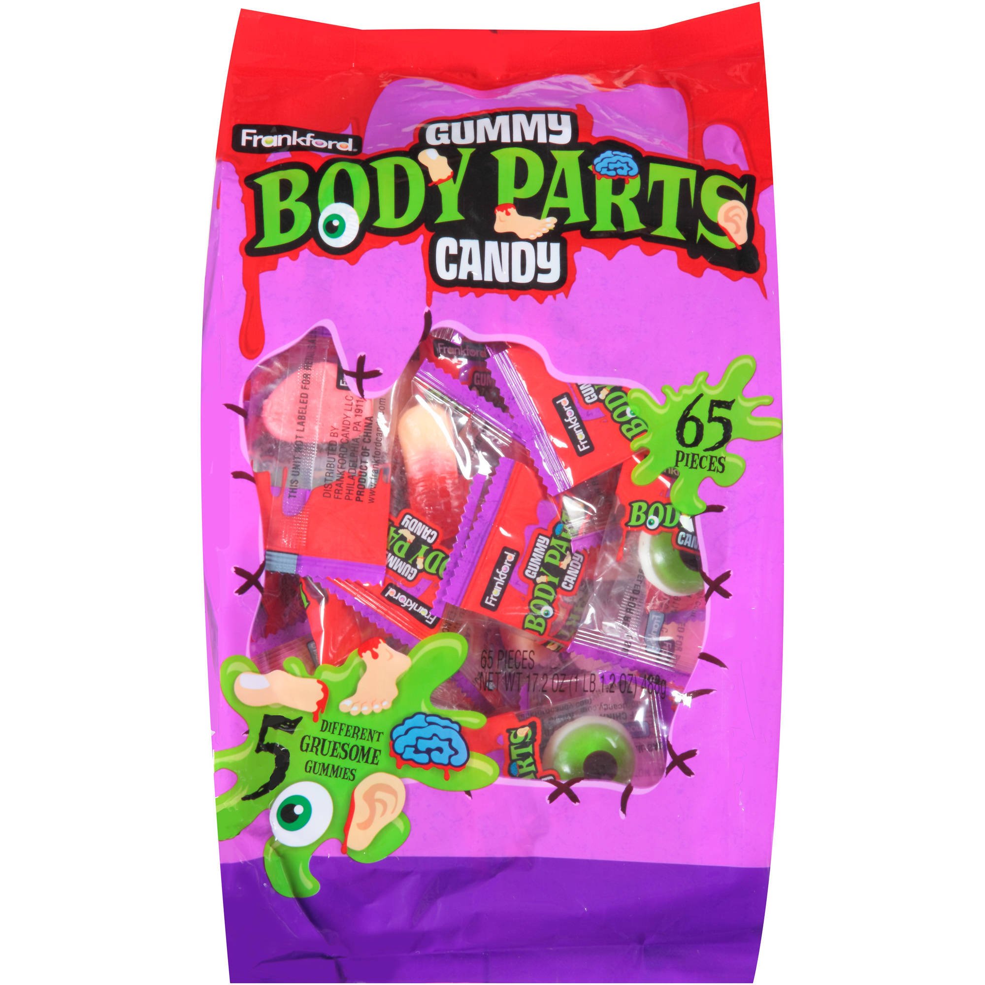 Frankford Gummy Body Parts Halloween Candy, 65 count, 17.2 oz by
