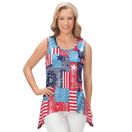 Women's Americana Patriotic Patchwork Sharkbite Sequin Tank Top Clothing, Xx-Large, Multi