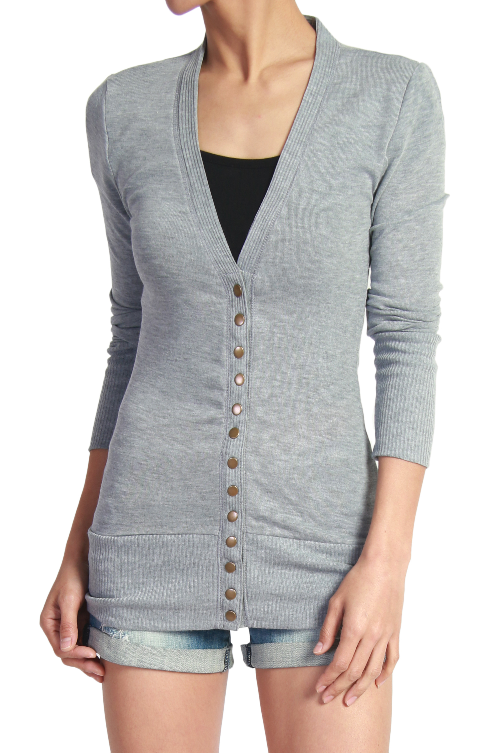 TheMogan Women's S~3XL Basic Snap Button V-Neck Long Sleeve Knit Cardigan