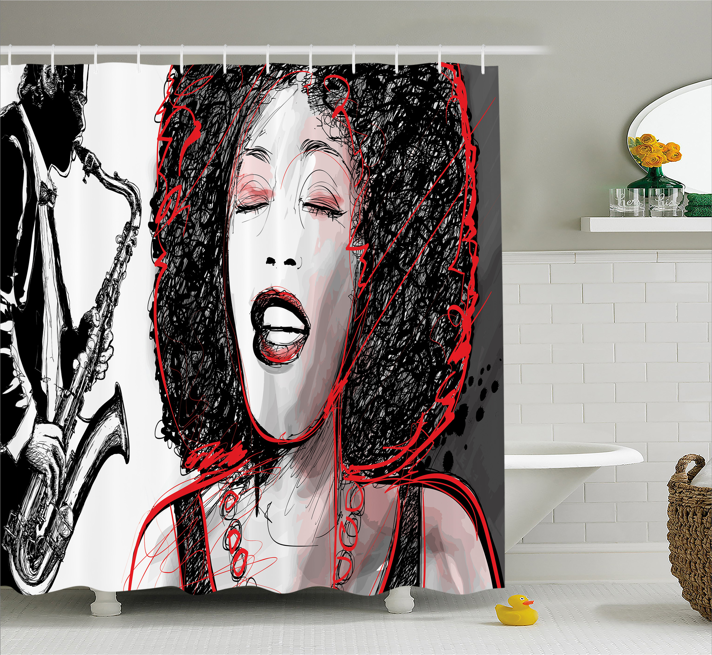 Afro Decor Shower Curtain, African American Girl Singing ...