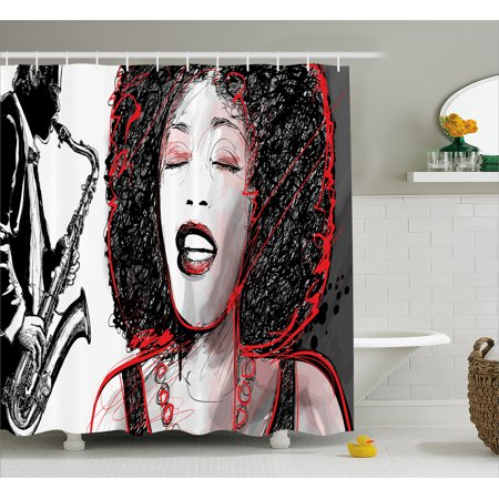 Afro Decor Shower Curtain African American Girl Singing With Saxophone Player Popular Sound Design