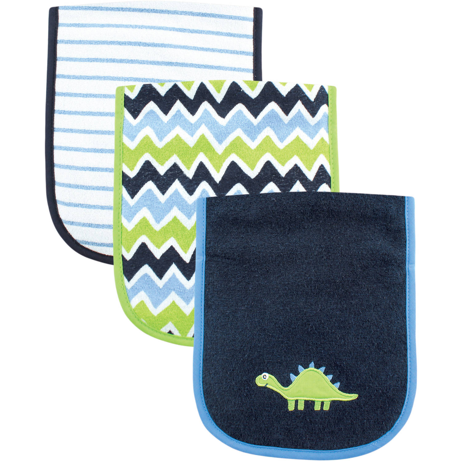Luvable Friends Burp Cloth, 3pk, Dinosaur