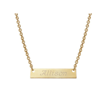 Personalized Girls' Gold -Tone Engraved Name Bar - Personalized Girls Necklace