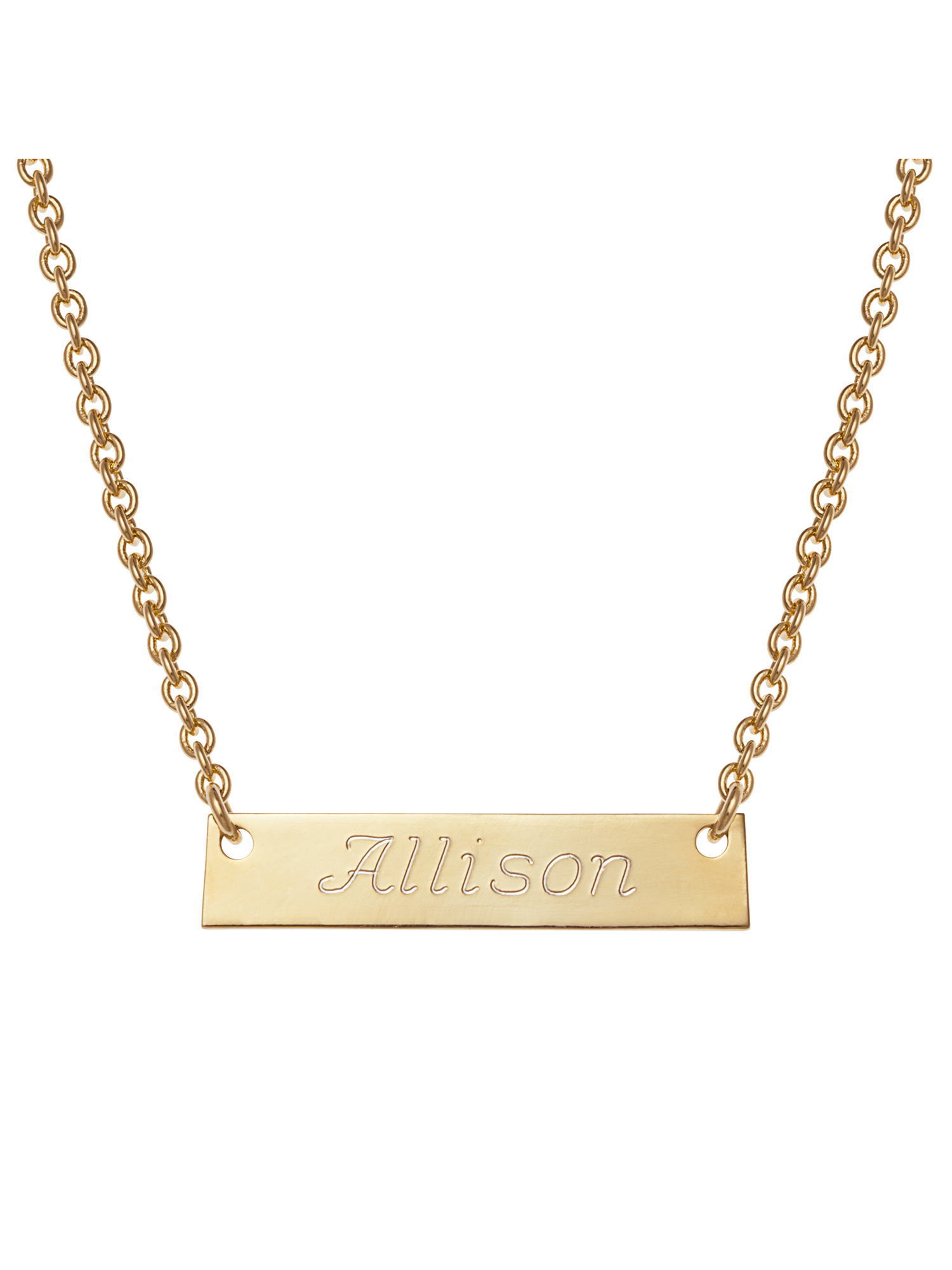 Personalized Girls' Gold -Tone Engraved Name Bar Necklace