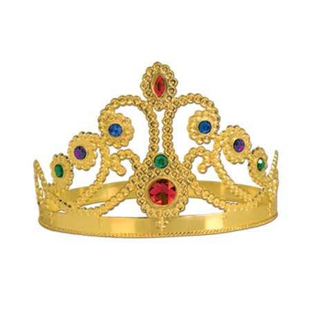 Club Pack of 12 Plastic Jeweled Gold Queen's Tiara Adjustable Party Hat