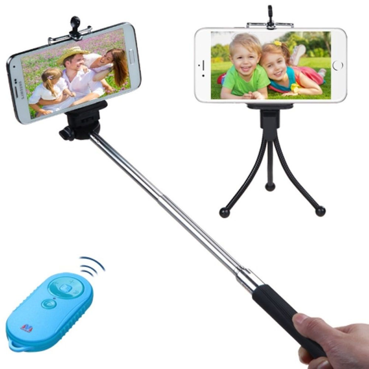 Insten Wireless 3-In-1 Monopod + Tripod Stand + Blue/Tropical Remote Shutter for Mobile Phone Camera