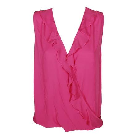 Inc International Concepts Magenta Ruffled V-Neck Sleeveless Top  XL