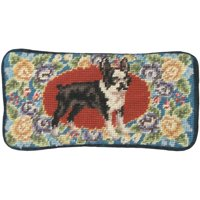 Eyeglass Case Boston Terrier Dog 3.5x7 Floral Wool Yarns New Hand-Embroider JK-9