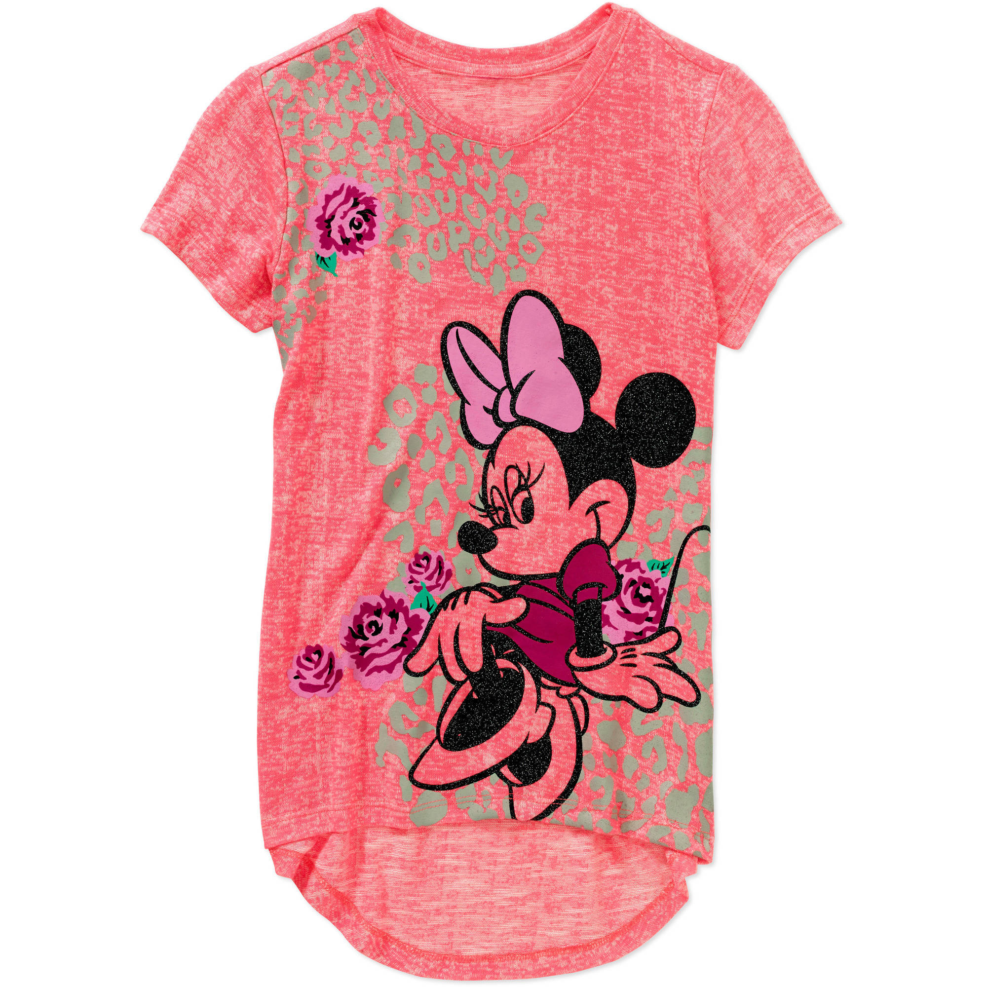 Disney Minnie Mouse Girls' Short Sleeve Hi Lo Hacci Graphic Top