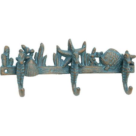 Worn Turquoise Patina Cast-Iron Seahorse Wall (Carolina Blue Hook)