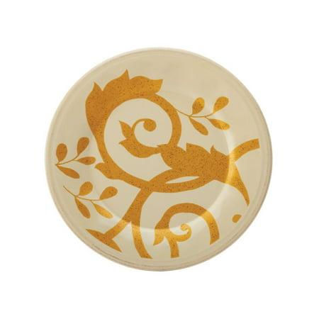 Rachael Ray Dinnerware Gold Scroll 8-Inch Salad Plate, Almond Cream