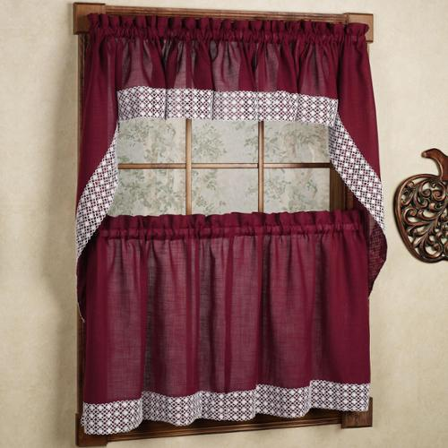 Burgundy Country Style Kitchen Curtains With White Daisy Lace Accent 36  Inch Tier Pair, Burgundy   Walmart.com