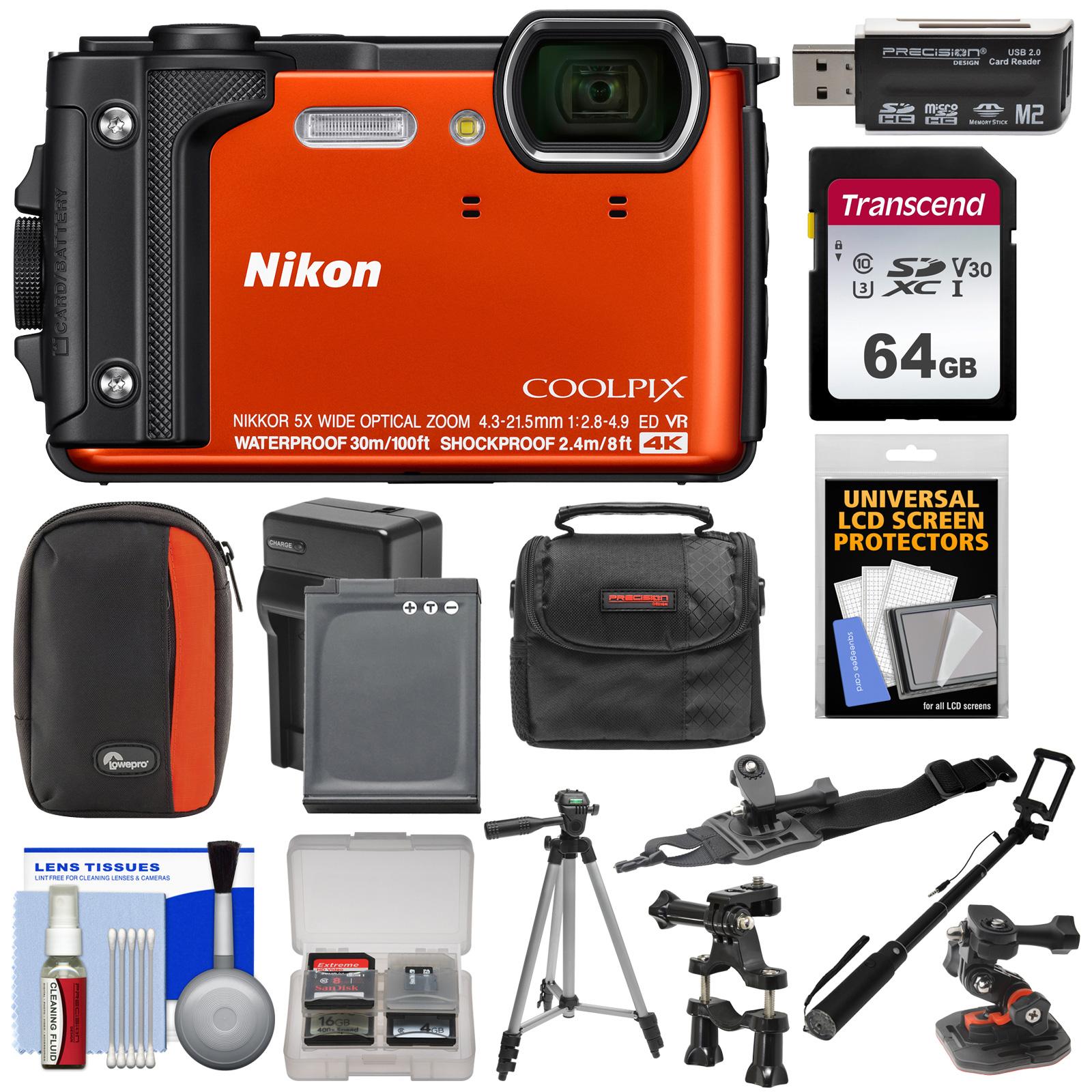 Nikon Coolpix W300 4K Wi-Fi Shock + Waterproof Digital Camera (Orange) with 64GB Card + (2) Cases + Battery + Charger + Tripod + Handlebar + Helmet Mounts + Kit
