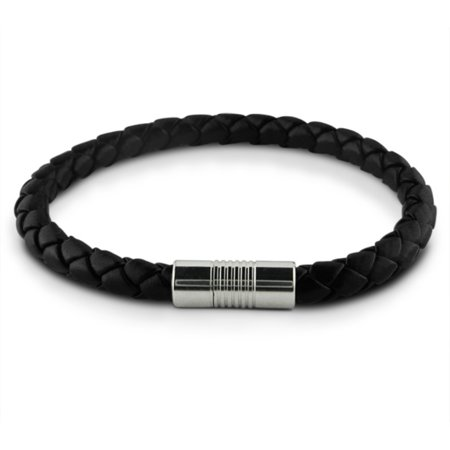 magnetic bracelet walmart braided black faux leather and stainless steel magnetic 1595