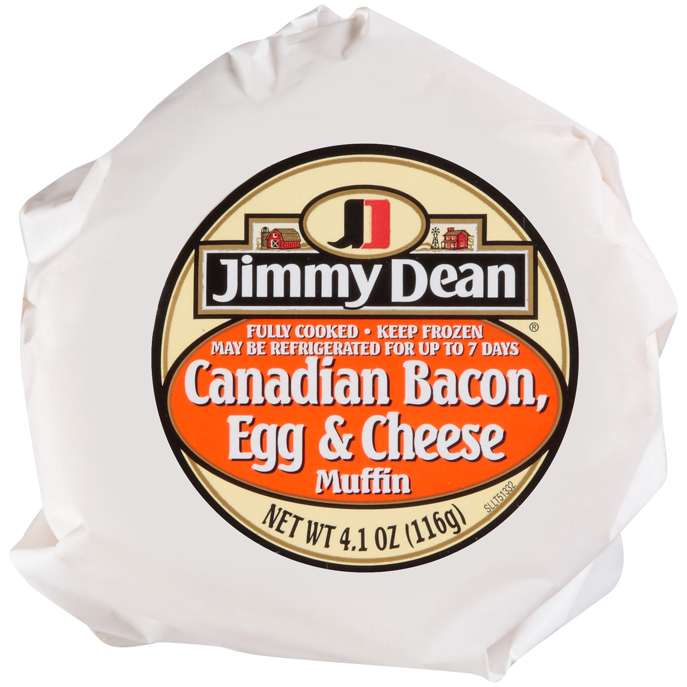Jimmy Dean Canadian Bacon w/ Egg and Cheese Muffin Sandwich, 4.1 oz., 12 per case
