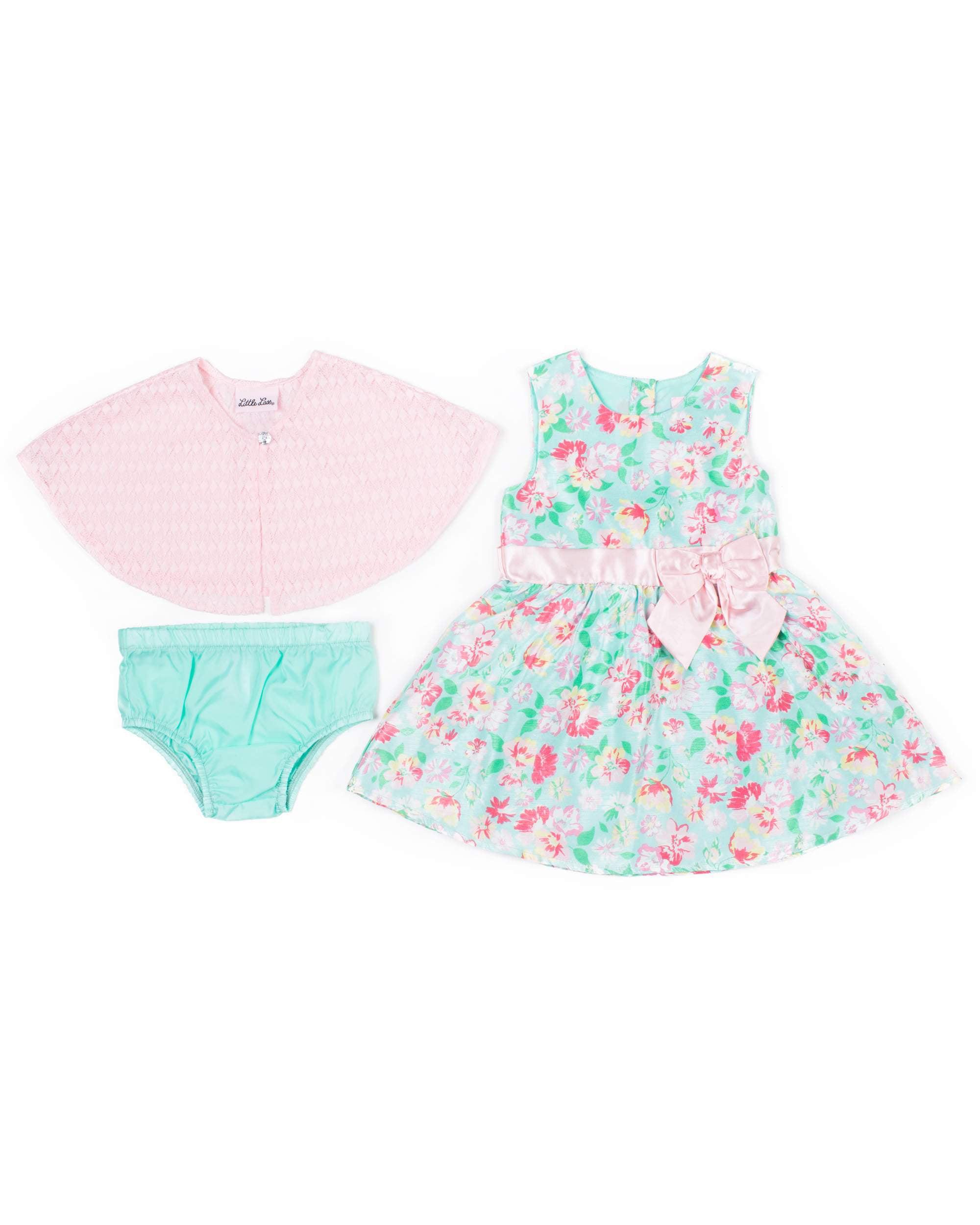 Printed Floral Shantung Dress & Knit Shrug, 2pc Outfit Set (Baby Girls & Toddler Girls)