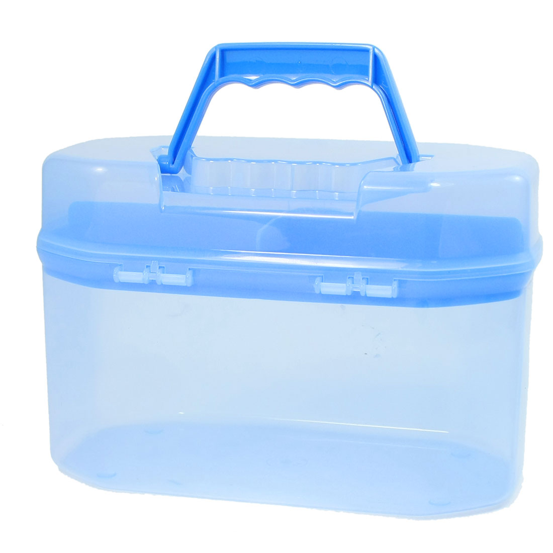 Unique Bargains Clear Blue Plastic Handle Flip Lock Household Storage Box