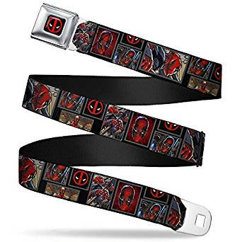 Deadpool Belt Cosplay (Seatbelt Belt - Marvel - Deadpool V.5 Adj 24-38' Mesh New)