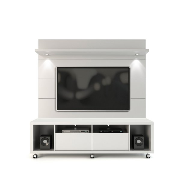 Manhattan Comfort Cabrini TV Stand and Wall TV Panel-Color:White Gloss,Finish:High Gloss