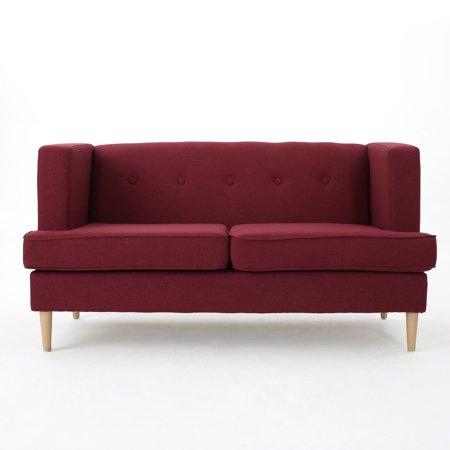 Muraco Mid Century Modern Fabric Loveseat, Deep Red