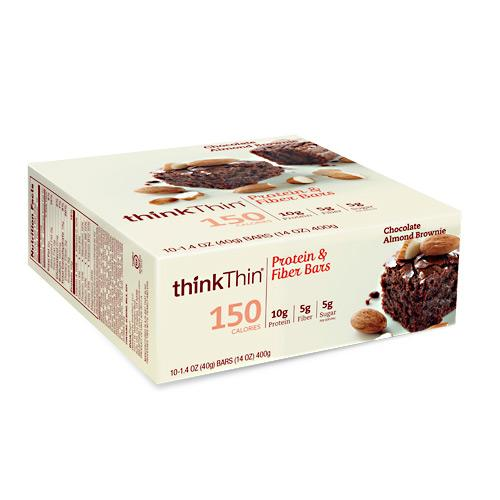 Think Products Think Thin Protein & Fiber Bars, Chocolate Almond Brownie, 1.41 Ounce (Pack of 10)