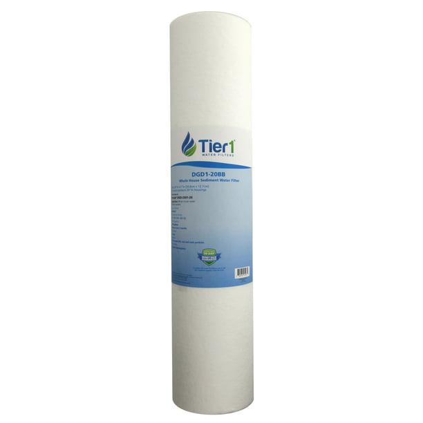 Tier1 DGD-2501-20 1 Micron 20 x 4.5 Spun Wound Polypropylene Sediment Pentek Comparable Replacement Water Filter 3-Pack