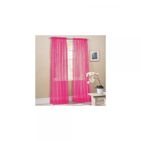 Awad Home Fashion 2 Panels Solid Fuschia Pink Sheer Voile Window Curtain Treatment D 55