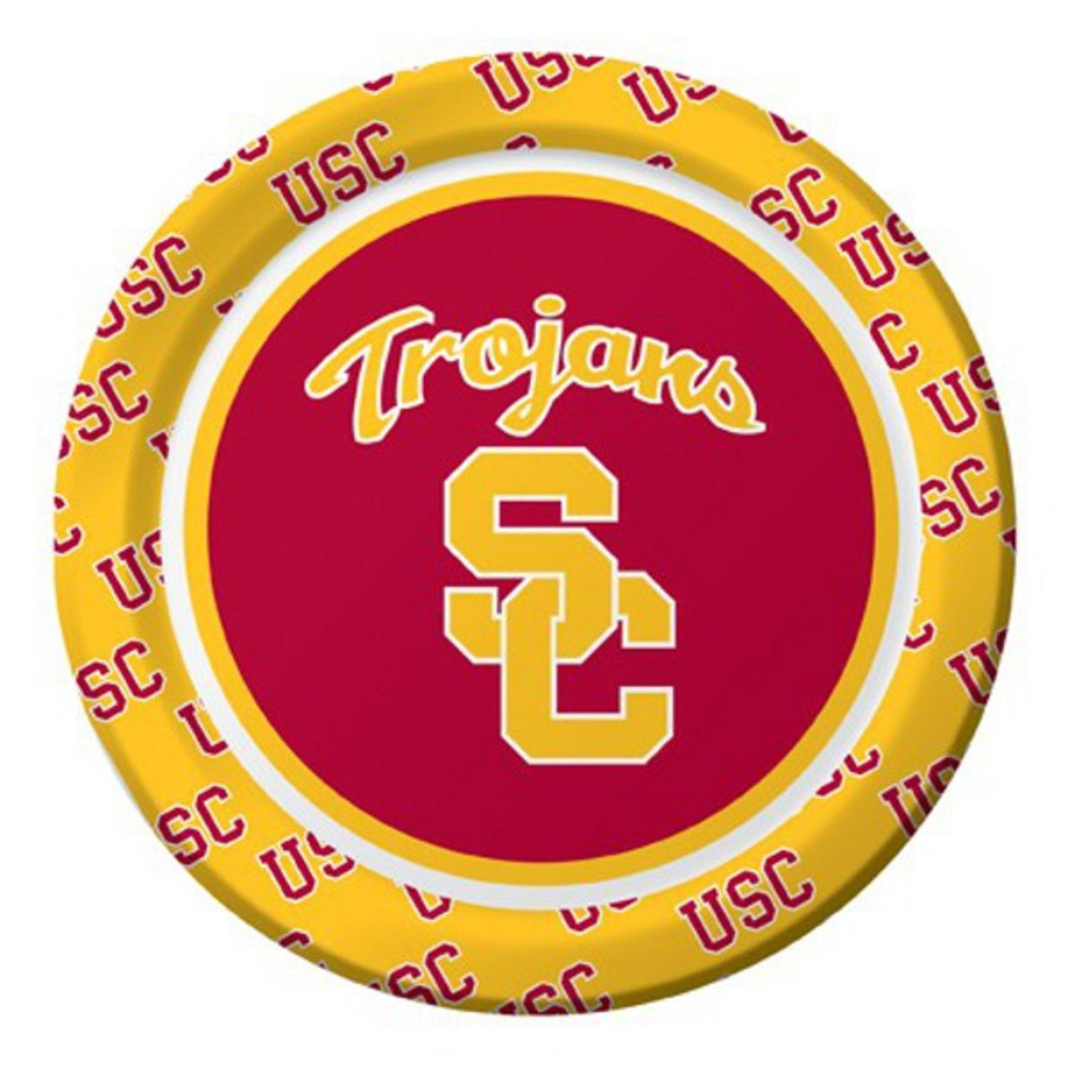 """Pack of 96 NCAA USC Trojans Round Tailgate Party Paper Plates 7"""""""