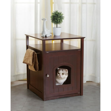 Merry Products Cat Litter Box Cover / Night Stand Pet House, Espresso Merry Products Cat Washroom
