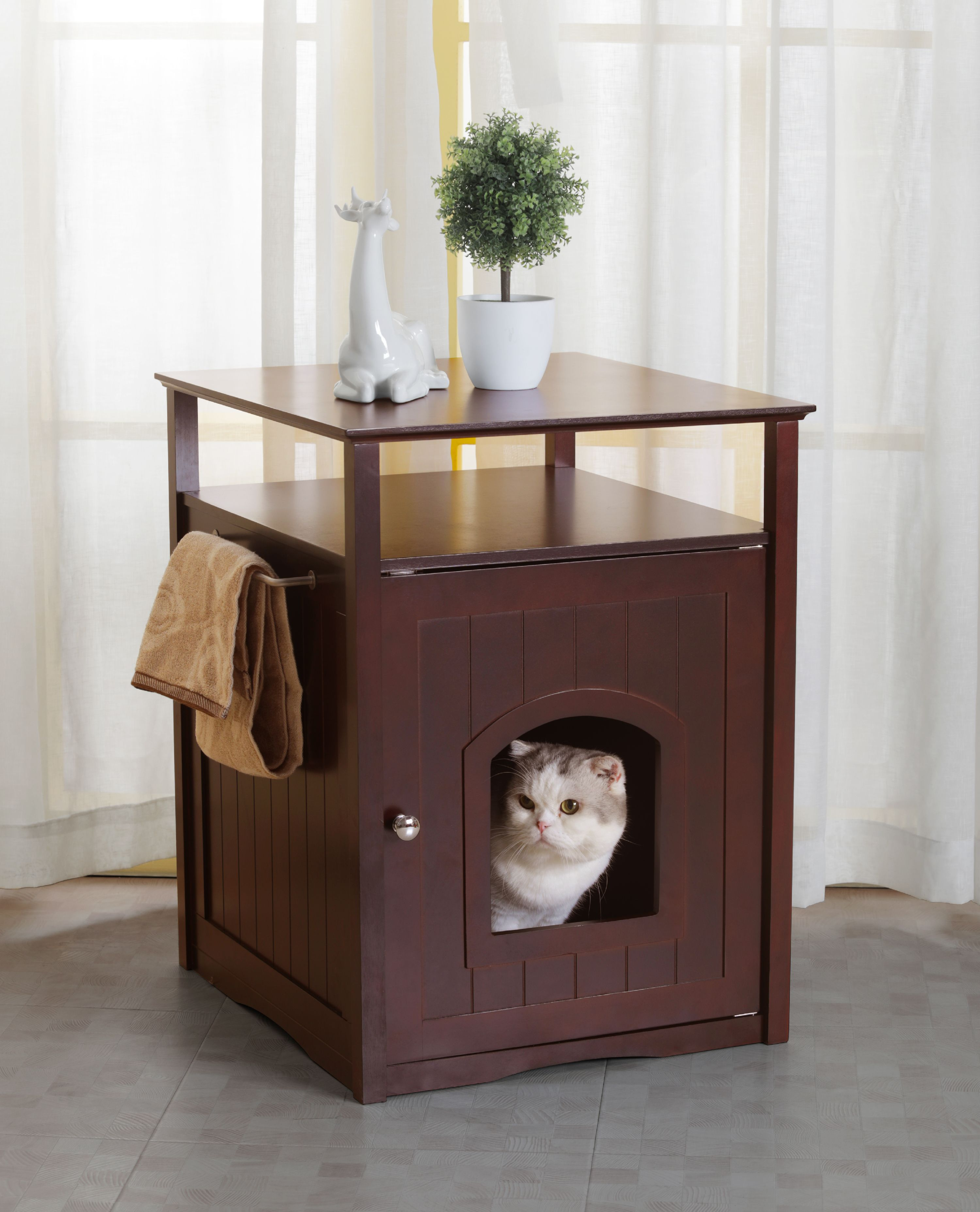 Merry Products Cat Litter Box Cover / Night Stand Pet House, Espresso