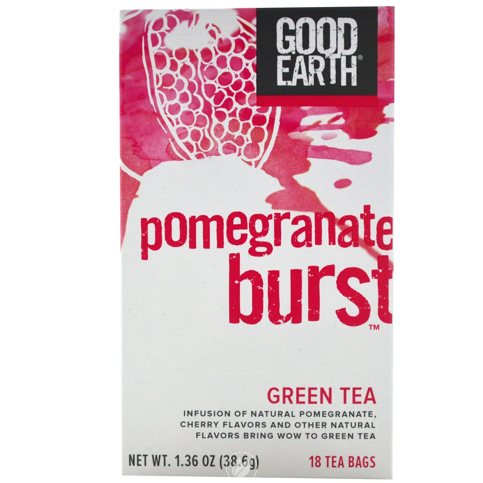 Good Earth Teas Pomegranate Burst Green Tea 18 Bag, Pack of 2