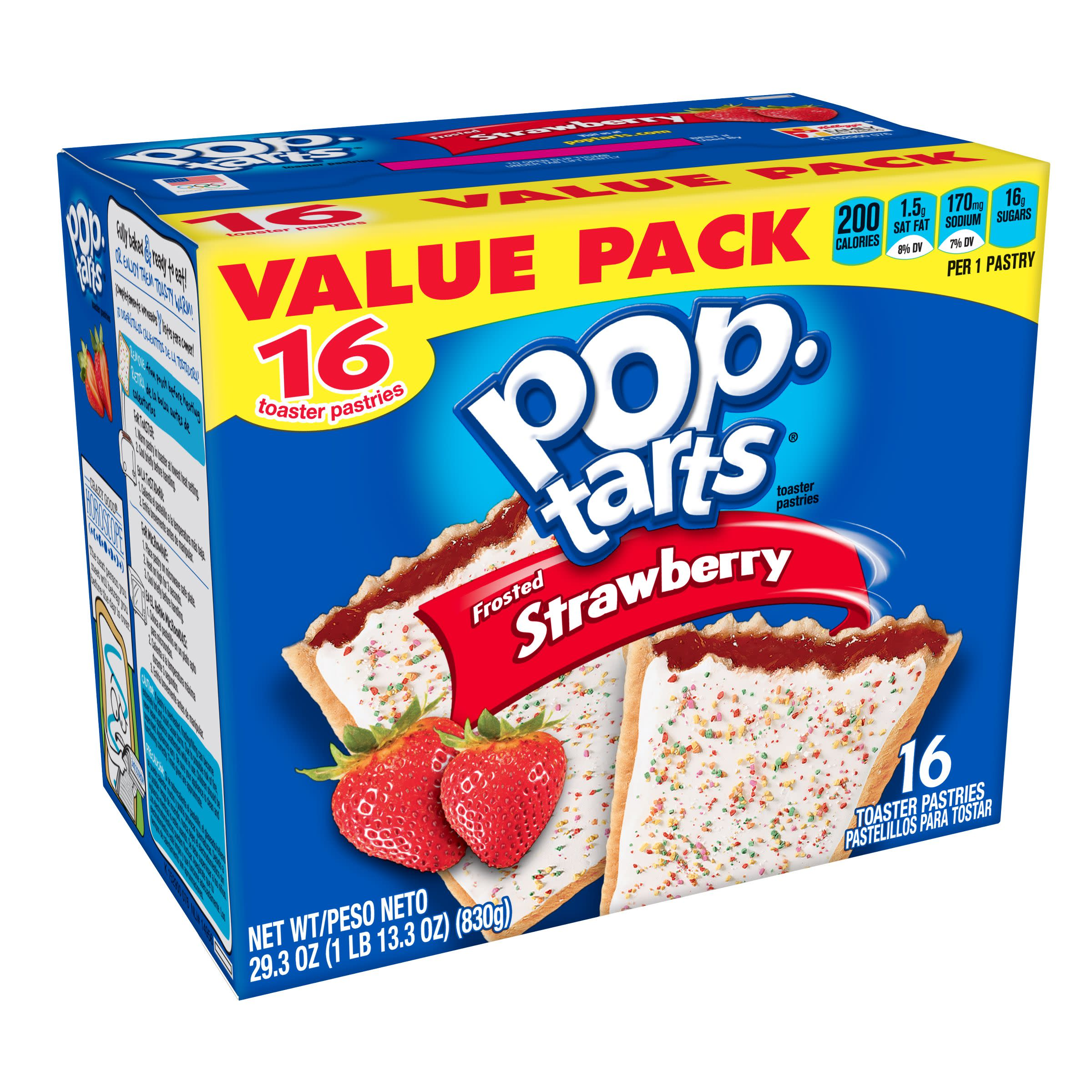 Kellogg's Pop-Tarts, Frosted Strawberry Flavored, 29.3 oz 16 Ct
