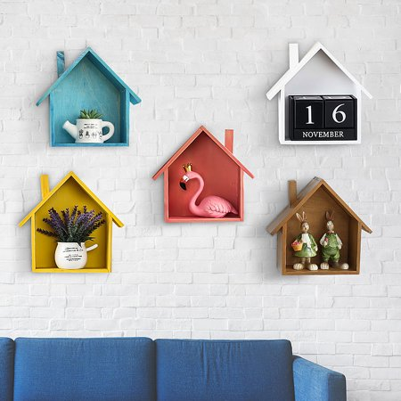 Creative Wooden Hanging Wall Shelves Flowerpots Holder Display Storage Wall Shelf Home Decorate (Only Wall Shelf) ()