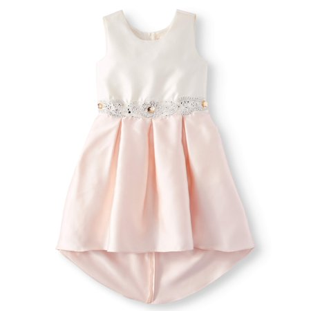 Bow Back Embellished Hi-Lo Occasion Dress (Big Girls)