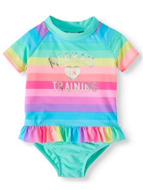 Wonder Nation Wowease Magnetic Closure Mermaid Rashguard Swimsuit (Toddler Girls)