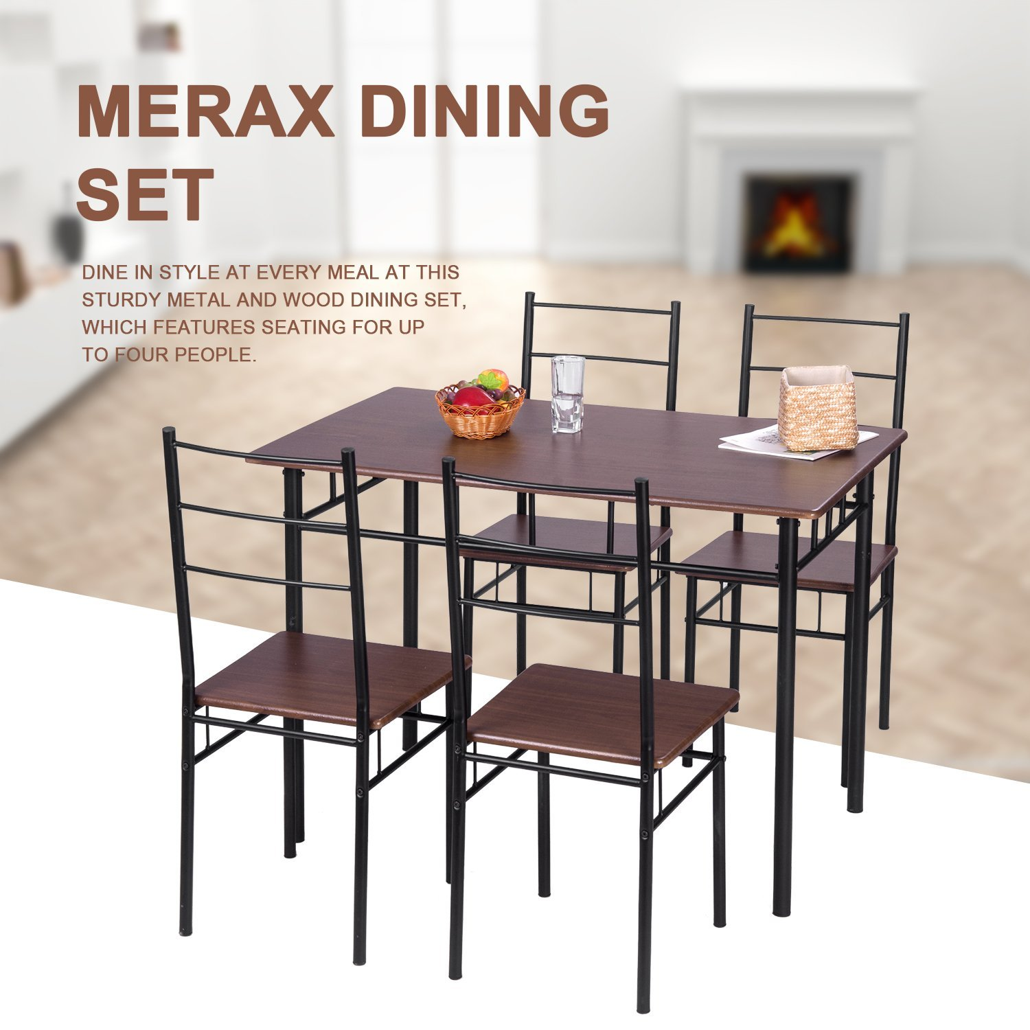 Harperu0026Bright Designs 5 Piece Wood And Metal Dining Set Table And 4 Chairs,  Multiple Finishes   Walmart.com