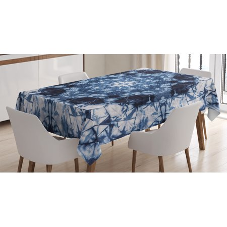 Tie Dye Decor Tablecloth, Microcosm Motif Generated with Digital Large Volume Active Rough Effect, Rectangular Table Cover for Dining Room Kitchen, 60 X 84 Inches, Royal Blue White, by Ambesonne - Tie Dye Tablecloth