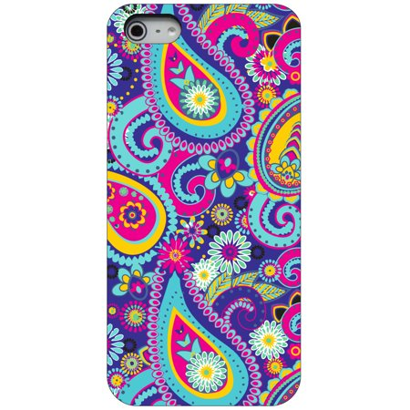 CUSTOM Black Hard Plastic Snap-On Case for Apple iPhone 5 / 5S / SE - Hot Blue Yellow Pink Paisley Black Snap Hard Case