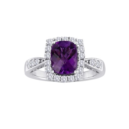 Genuine Amethyst and Created White Sapphire Sterling Silver -