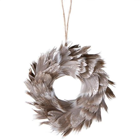 """Ganz 6"""" Urban Nature Champagne Glittered Feathered Wreath Christmas Ornament - Grey"""
