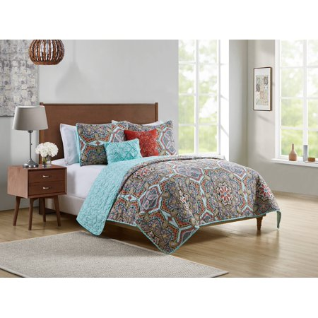 VCNY Home Yara Geometric Medallion 4/5-Piece Reversible Bedding Quilt Set, Multiple Sizes and Colors ()