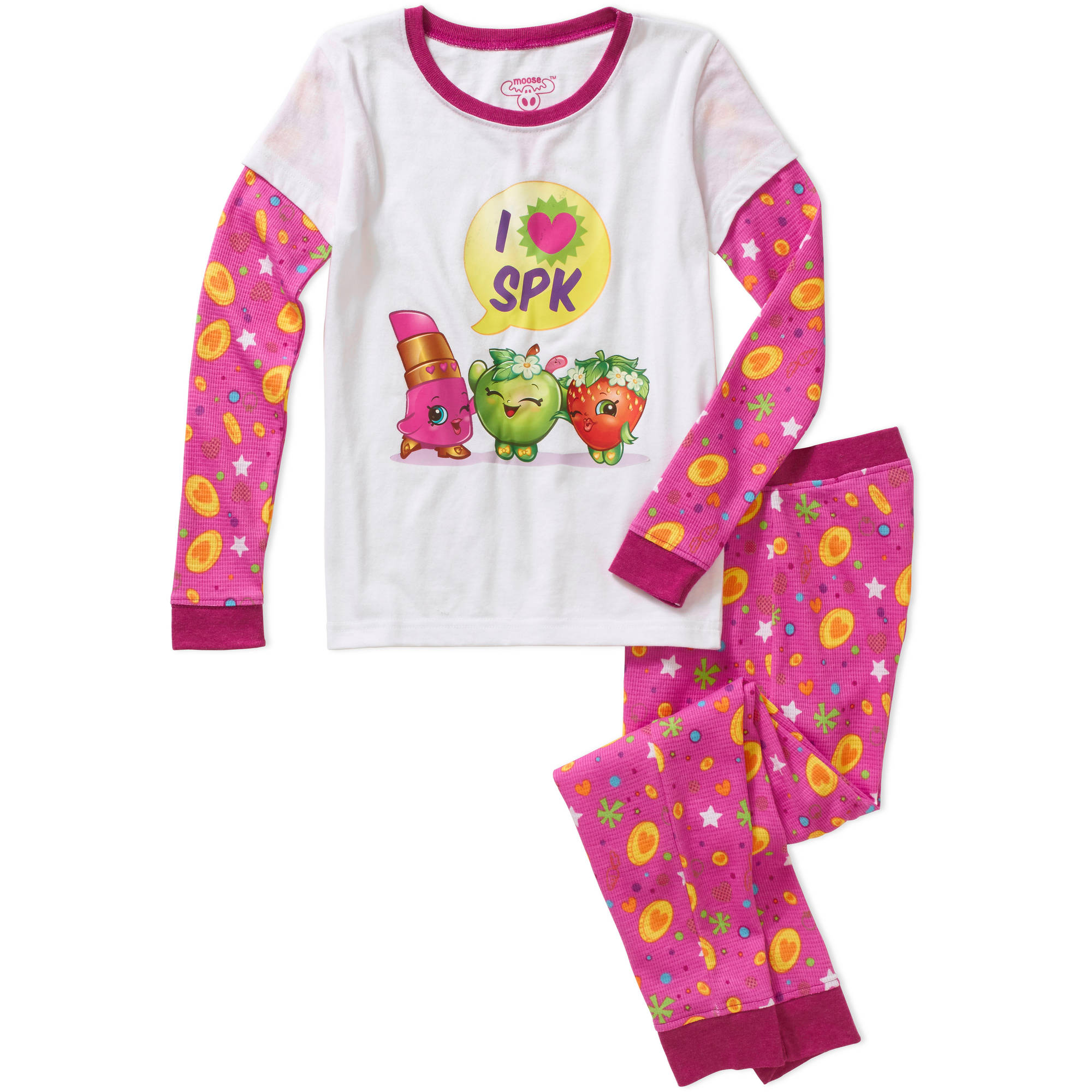 Shopkins Girls' Long Sleeve I Heart Shopkins Waffle Top and Pant Sleepwear Set