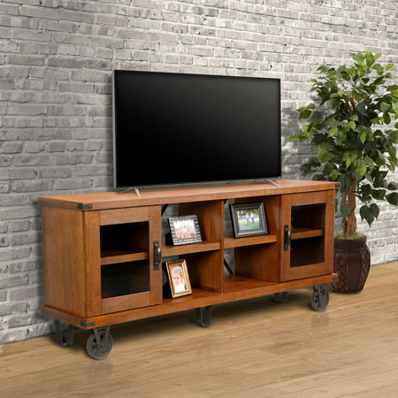 OS Home and Office Furniture Model 33270 Industrial Collection 72 inch wide TV Console with glass doors ()