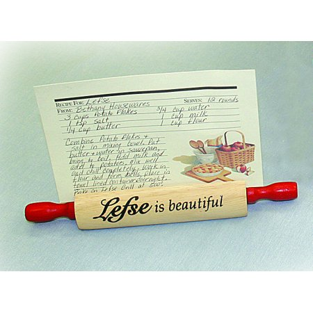 """Bethany Housewares """"Lefse is Beauiful"""" Rolling Pin Recipe Card Holder"""